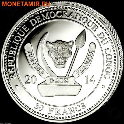 Демократическая Республика Конго 4х30 франков 2014.Набор из четырех монет. Прекрасные бабочки – ультрафиолет.Арт.000775847927 (фото, вид 5)