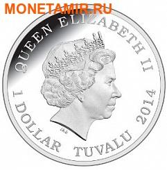 Тувалу 1 доллар 2014 Скорпион серия Смертельно Опасные (Tuvalu 1$ 2014 Deadly and Dangerous Spider Hunting Scorpion 1oz Silver Coin).Арт.000276948660/92 (фото, вид 1)