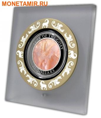 Острова Кука 25 долларов 2015 Год Козы Лунный Календарь Перламутр (Cook Isl 25$ 2015 Year of the Goat Mother of Pearl 5Oz Silver Coin Proof).Арт.60 (фото, вид 2)