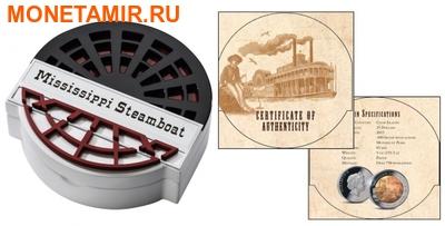 Острова Кука 25 долларов 2015 Пароход Миссисипи Перламутр (Cook Isl 25$ 2015 Mississippi Steamboat Mother of Pearl 5Oz Silver Coin Proof).Арт.001891250055 (фото, вид 3)