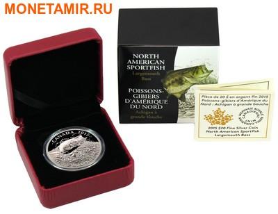 Канада 20 долларов 2015.Североамериканская спортивная рыбалка - Большеротый окунь. (фото, вид 3)