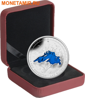 Канада 20 долларов 2014 Озеро Верхнее Великие Озера (Canada 20C$ 2014 Lake Superior Great Lakes Silver Proof).Арт.000327945704/67 (фото, вид 2)