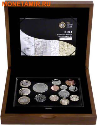 Великобритания 15,38 фунтов 2011.Эксклюзивный годовой набор 14 монет.(2011 UK Executive Proof Set in Presentation Box). (фото, вид 1)