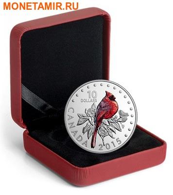 Канада 10 долларов 2015.Красный Кардинал - Красочные певчие птицы Канады. (фото, вид 2)