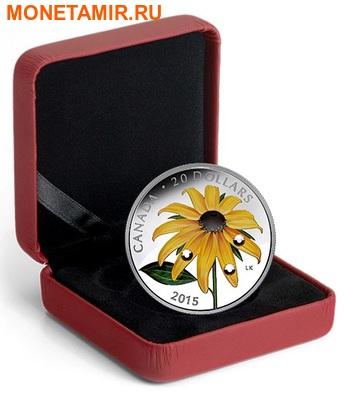 Канада 20 долларов 2015 Цветок Черноглазая Сьюзен Капля Дождя (Canada 20C$ 2015 Black-Eyed Susan Flower Raindrop Swarovski Silver Proof).Арт.000532750830/60 (фото, вид 2)