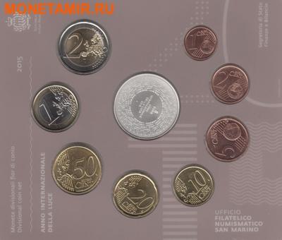 Сан-Марино 13,88 евро 2015.Годовой набор евро.Всемирный год света.(Буклет. 9 монет).Арт.000100050850/60 (фото, вид 4)