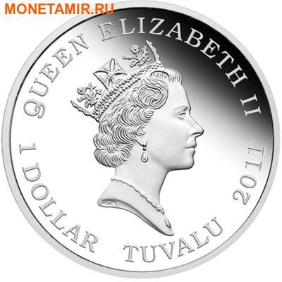 Тувалу 1 доллар 2011 Кубомедуза серия Смертельно Опасные (Tuvalu 1$ 2011 Deadly and Dangerous Box Jellyfish 1oz Silver Coin).Арт.000309434906/92 (фото, вид 1)