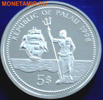 Палау 5 долларов 1998.Дельфин – Защита морской жизни.Арт.000135041842/60 (фото, вид 1)