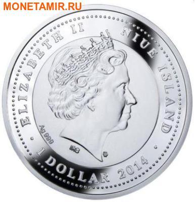 Ниуэ 1 доллар 2014.Черный Носорог – Вымирающие виды животных.Арт.60 (фото, вид 1)