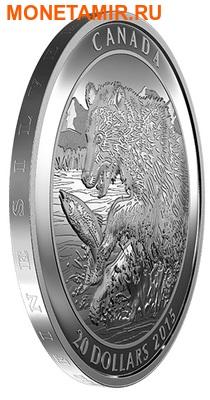 Канада 20 долларов 2015.Медведь Гризли ловит рыбу.Арт.60 (фото, вид 1)