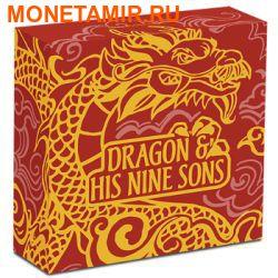 Тувалу 5 долларов 2015.Дракон и девять сыновей.Арт.60 (фото, вид 3)