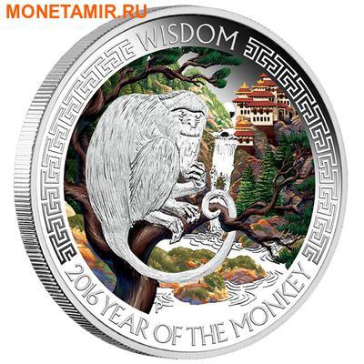 Тувалу 2х1 доллар 2016 Год Обезьяны Лунный календарь на Удачу Богатство Мудрость.Арт.60 (фото, вид 1)