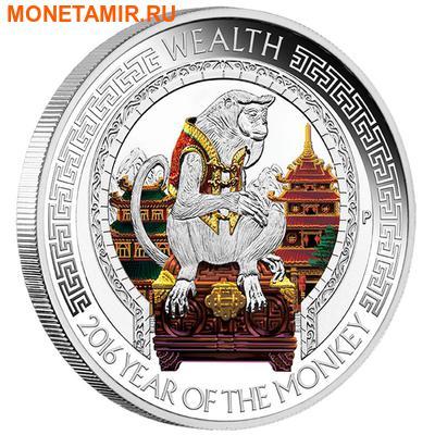 Тувалу 2х1 доллар 2016 Год Обезьяны Лунный календарь на Удачу Богатство Мудрость.Арт.60 (фото, вид 2)