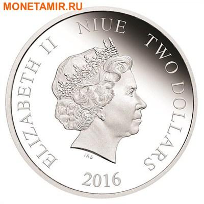 Ниуэ 2 доллара 2016.Любовь – Колибри (сердце цирконий).Арт.60 (фото, вид 1)