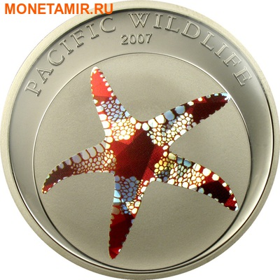 Палау 3x1 доллар 2007.Тихоокеанская дикая природа - Морская звезда Наутилус Морской конек.Арт.60 (фото, вид 1)