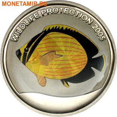 Конго 3x5 франков 2005.Рыбы – Рыба-бабочка(Chaetodon austriacus) Полосатая ласточка (Monodactylus sebae) Циклида (Hemichromis bimaculatus) (призма).Арт.60 (фото, вид 1)