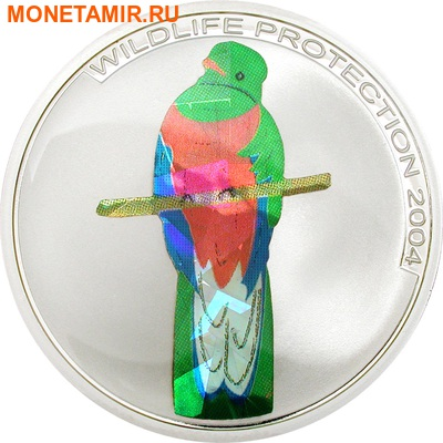 Конго 3x5 франков 2004.Птицы – Кетсаль (Quetzal) Райская птица (Bird of Paradise) Зимородок (Kingfisher) (призма).Арт.60 (фото, вид 1)