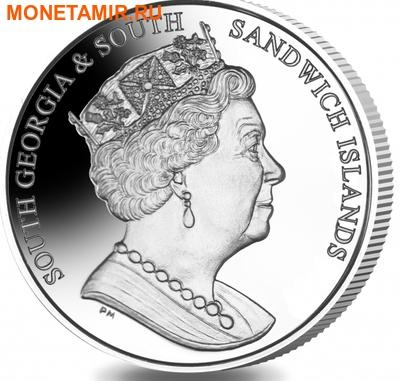 Южная Георгия и Южные Сендвичевы острова 2 фунта 2016.Кит – малый полосатик (серебро).Арт.60 (фото, вид 1)
