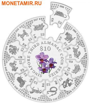 Сингапур 34 доллара 2016.Третий альманах - Лунный календарь.Орхидея (монета пазл).Арт.60 (фото, вид 1)