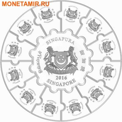 Сингапур 34 доллара 2016.Третий альманах - Лунный календарь.Орхидея (монета пазл).Арт.60 (фото, вид 2)