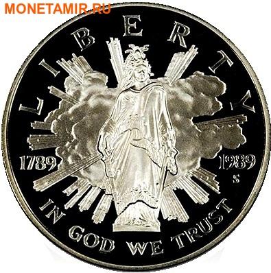 Соединенные Штаты Америки 1 доллар + 5 долларов + пол доллара 1989.200 лет Конгрессу США (1989 US Congressional - Three (3) Coin Commemorative Proof Set).Арт.60 (фото, вид 1)