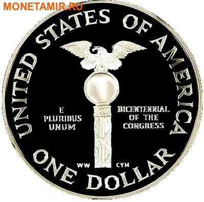 Соединенные Штаты Америки 1 доллар + 5 долларов + пол доллара 1989.200 лет Конгрессу США (1989 US Congressional - Three (3) Coin Commemorative Proof Set).Арт.60 (фото, вид 2)