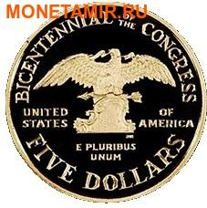 Соединенные Штаты Америки 1 доллар + 5 долларов + пол доллара 1989.200 лет Конгрессу США (1989 US Congressional - Three (3) Coin Commemorative Proof Set).Арт.60 (фото, вид 4)