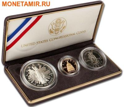 Соединенные Штаты Америки 1 доллар + 5 долларов + пол доллара 1989.200 лет Конгрессу США (1989 US Congressional - Three (3) Coin Commemorative Proof Set).Арт.60 (фото, вид 7)