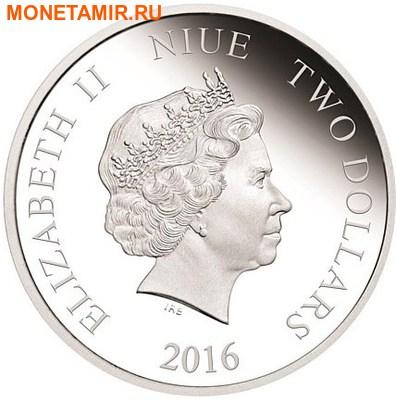 Ниуэ 2 доллара 2016.Серый Волк серия Короли Континентов.Арт.60 (фото, вид 1)