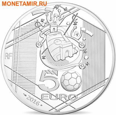 Франция 50 евро 2016 Футбол УЕФА ЕВРО 2016 (France 50 Euro 2016 UEFA Football 5oz Silver Coin).Арт.90 (фото, вид 1)