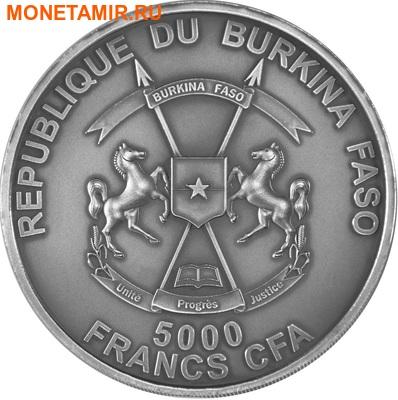 Буркина Фасо 5000 франков 2013.Смилодон с детенышем (эффект реальных глаз).Арт.60 (фото, вид 1)