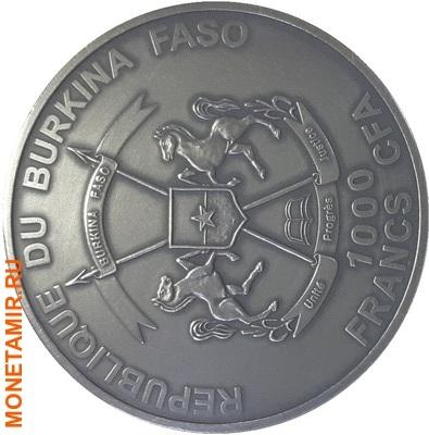 Буркина Фасо 2х1000 франков + медаль 2015.Мамонт – Детенышь мамонта (эффект реальных глаз).Арт.60 (фото, вид 3)
