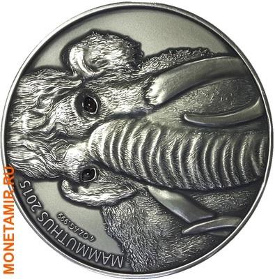 Буркина Фасо 2х5000 франков + медаль 2015.Мамонт – Детенышь мамонта (эффект реальных глаз).Арт.60 (фото, вид 1)