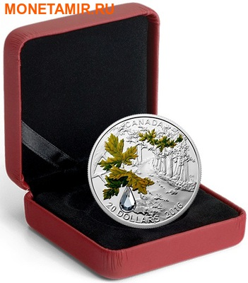 Канада 20 долларов 2016 Клен Капля Дождя (Canada 20C$ 2016 Bigleaf Maple Raindrop Swarovski Silver Proof).Арт.000465753937/67 (фото, вид 2)