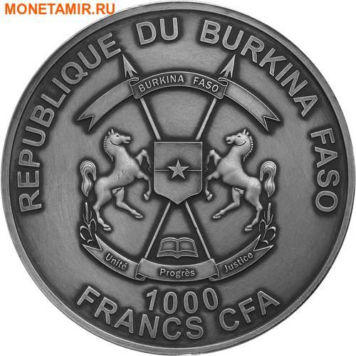 Буркина Фасо 1000 франков 2016 Крокодил Эффект Реальных Глаз (1000 Francs Burkina Faso 2016 Crocodile Real Eye Effekt 1 oz Silver Coin).Арт.65 (фото, вид 2)