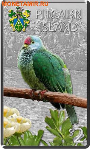Ниуэ Фиджи Острова Питкэрн 3х2 доллара 2013.Голубь (Pacific Pigeon) Попугай (Collard Lory) Голубь (Henderson Island Fruit Dove) - Птицы Тихоокеанских островов.Арт.000813246446/60 (фото, вид 3)