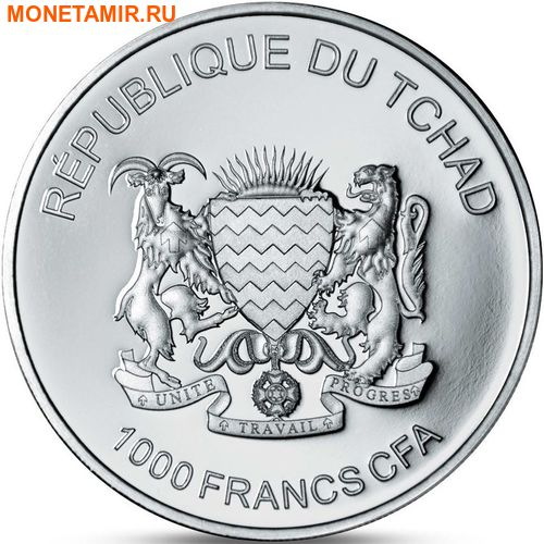 Чад 1000 франков 2016.Бегемот.Арт.60 (фото, вид 1)