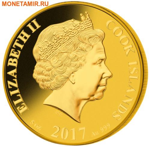 Острова Кука 200 долларов 2017 Год Петуха Лунный Календарь Перламутр (Cook Isl 200$ 2017 Year of the Rooster Mother of Pearl 5Oz Gold Coin Proof).Арт.65 (фото, вид 1)