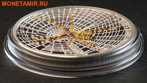 Острова Кука 5 долларов 2016 Паук-оса Великолепная жизнь (Cook Isl 5$ 2016 Magnificent Life Wasp Spider 1Oz 999 Silver).Арт.My/60 (фото, вид 2)