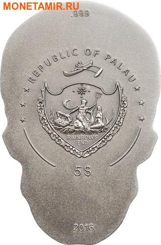 Палау 5 долларов 2016 Череп (Palau 5$ 2016 Skull 1 oz Silver Coin).Арт.60 (фото, вид 2)
