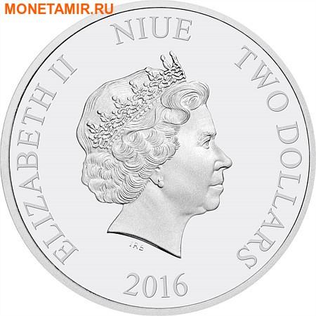 Ниуэ 2 доллара 2016.Ягуар серия Короли Континентов.Арт.60 (фото, вид 1)