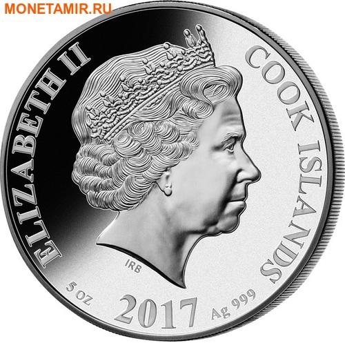 Острова Кука 25 долларов 2017 Велосипед 200 лет Перламутр (Cook Isl 2017 25$ The Bicycle Mother of Pearl 5Oz Silver Coin Proof).Арт.60 (фото, вид 1)