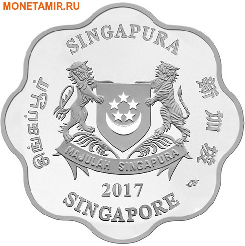 Сингапур 5 долларов 2017.Год Петуха – Лунный календарь.Арт.60 (фото, вид 1)