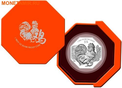 Сингапур 5 долларов 2017.Год Петуха – Лунный календарь.Арт.60 (фото, вид 2)