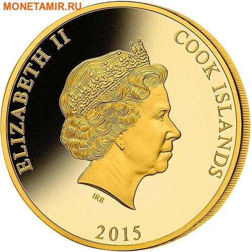 Острова Кука 200 долларов 2015 Пароход Миссисипи Перламутр (Cook Isl 200$ 2015 Mississippi Steamboat Mother of Pearl 5Oz Gold Coin Proof).Арт.60 (фото, вид 1)