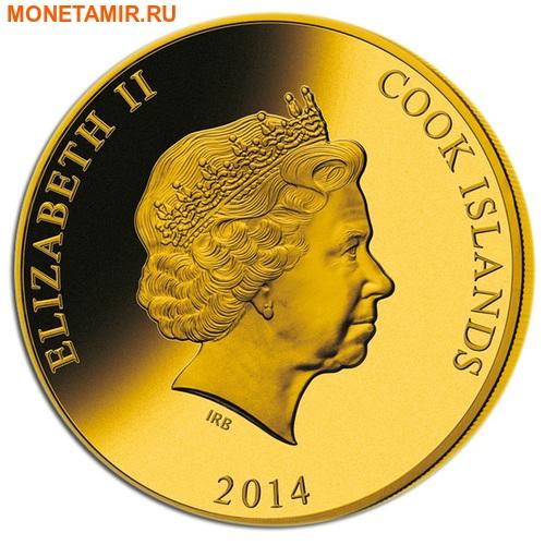 Острова Кука 1000 долларов 2014 Наутилус Жюль Верн Перламутр (Cook Isl 1000$ 2014 Nautilus Jules Verne Mother of Pearl 5Oz Gold Coin Proof).Арт.60 (фото, вид 1)