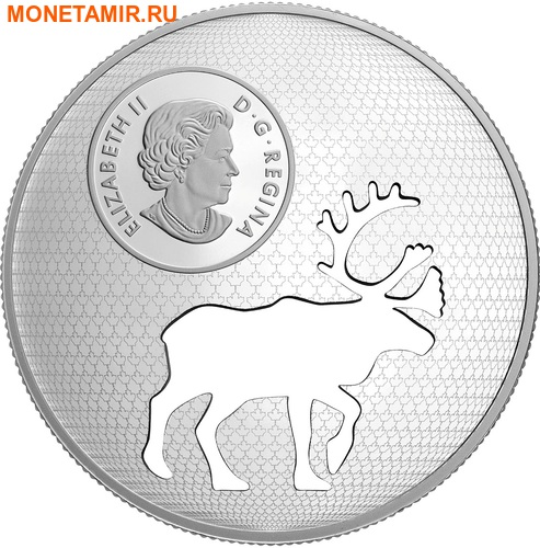 Канада 30 долларов 2017.Олень Карибу - Силуэт.Арт.60 (фото, вид 2)