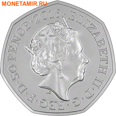 Великобритания 50 пенсов 2016 Ежик.Арт.60 (фото, вид 1)