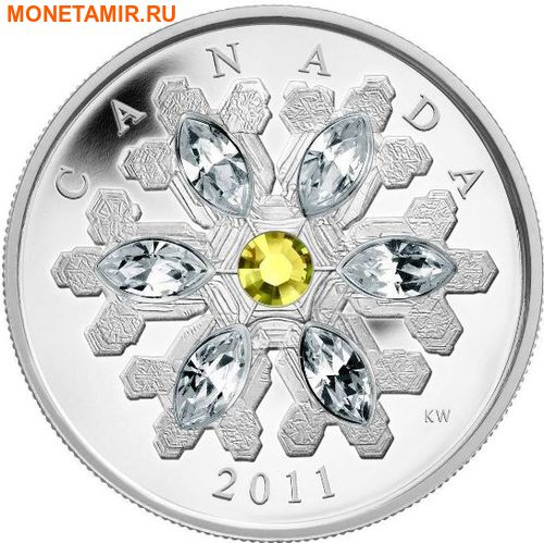 Канада 20 долларов 2011.Снежинка (Желтый топаз).Арт.000374536224/60 (фото, вид 1)