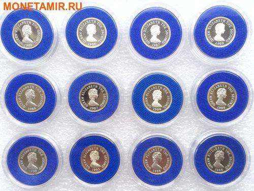 Джерси 12х1 фунт 1983-1989 Гербы (Набор 12 монет).Арт.000316312205/60 (фото, вид 1)